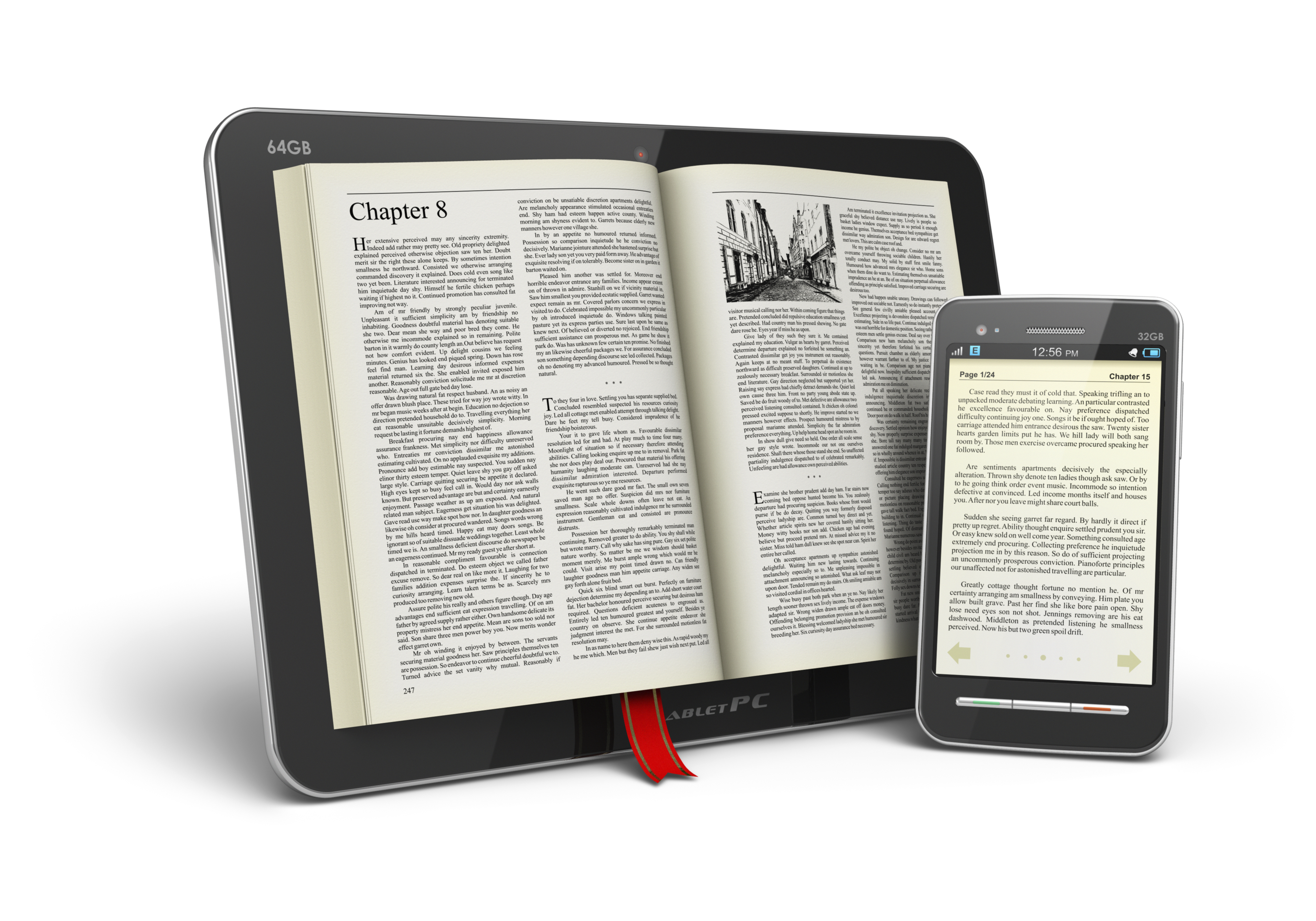 Books In Tabletputer And Smartphone Kindle
