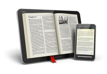 Books in tablet computer and smartphone